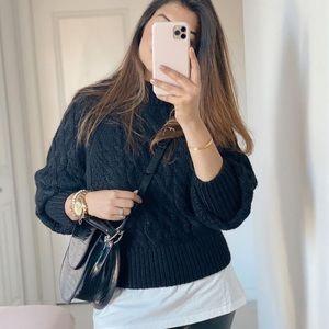 Zara black tonal cable knit sweater